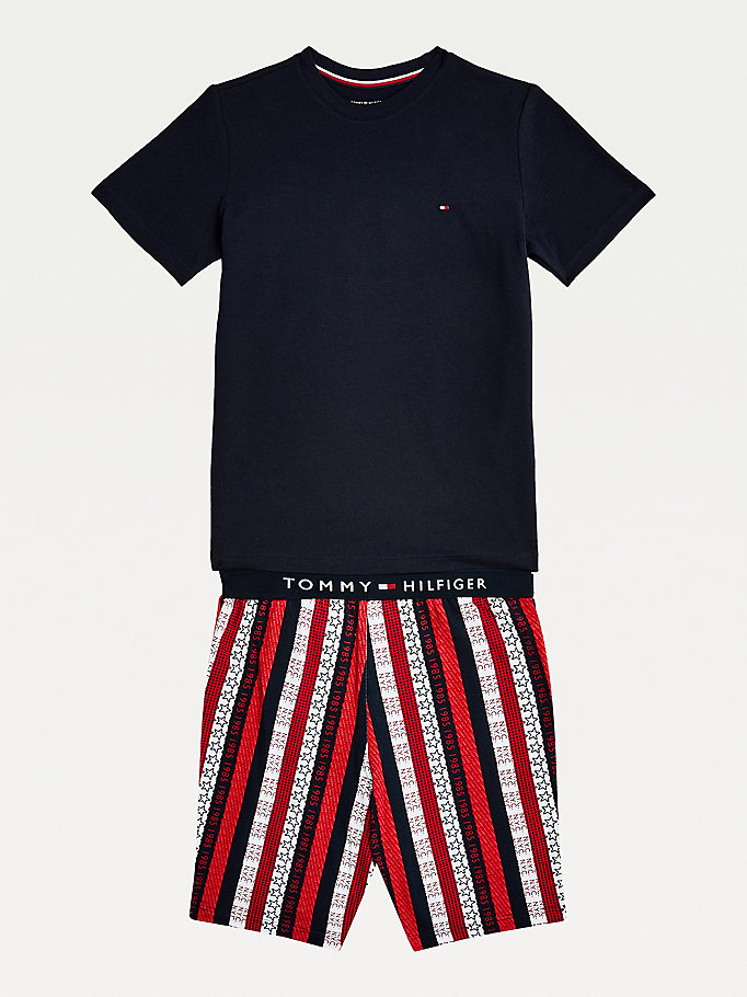 grey logo cotton jersey pyjama set for boys tommy hilfiger