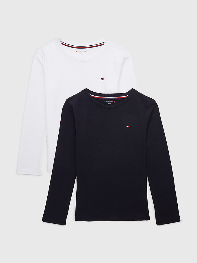 blue 2-pack long sleeve t-shirts for boys tommy hilfiger