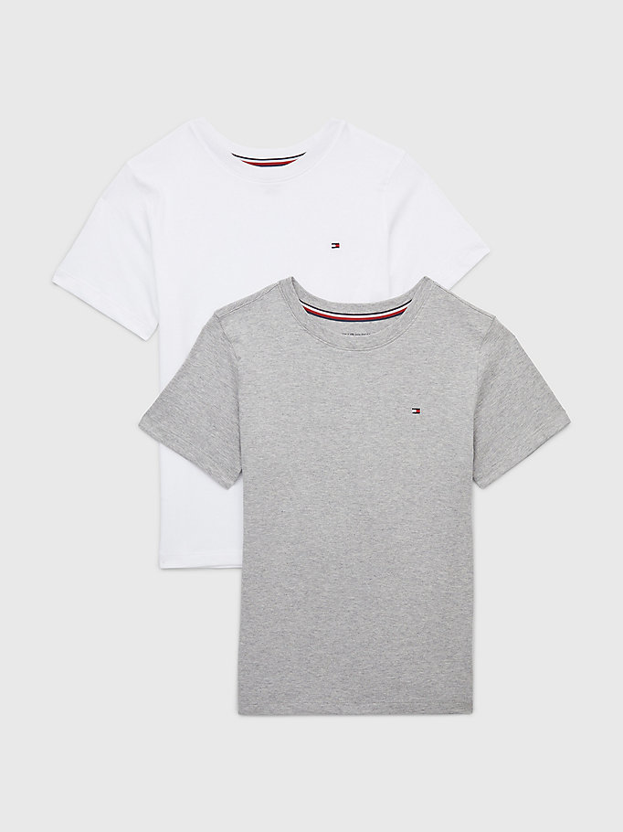 grey 2-pack short sleeve t-shirts for boys tommy hilfiger