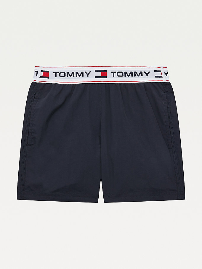 blue concealed drawstring mid length swim shorts for boys tommy hilfiger