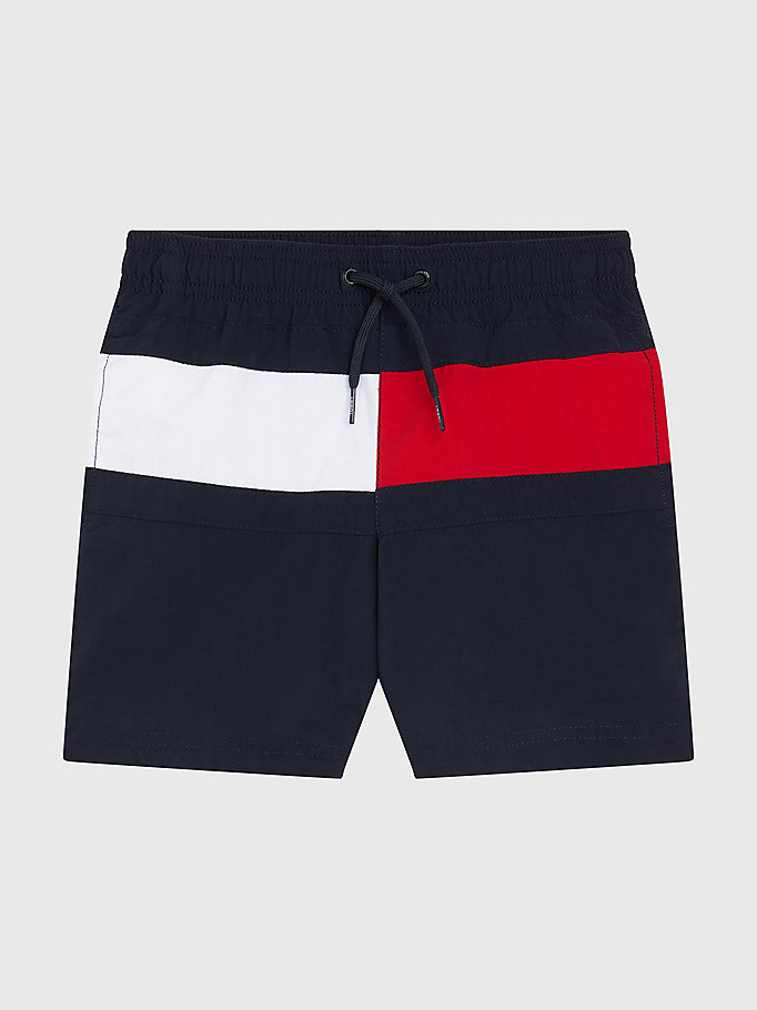 blue signature regular fit mid length swim shorts for boys tommy hilfiger