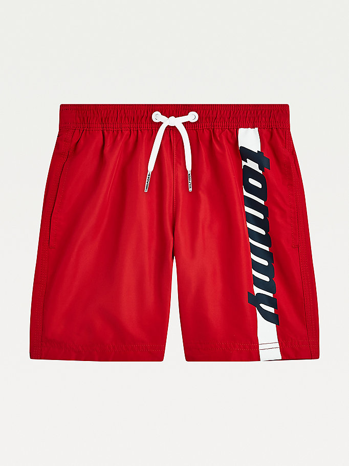 red retro mid length swim shorts for boys tommy hilfiger