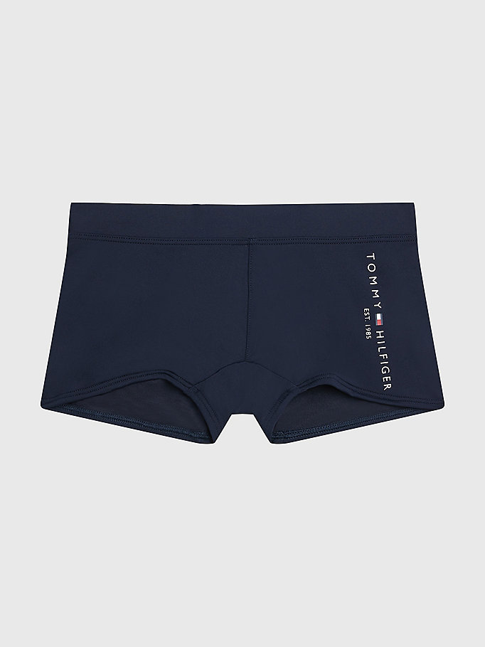 blue logo leg swim trunks for boys tommy hilfiger