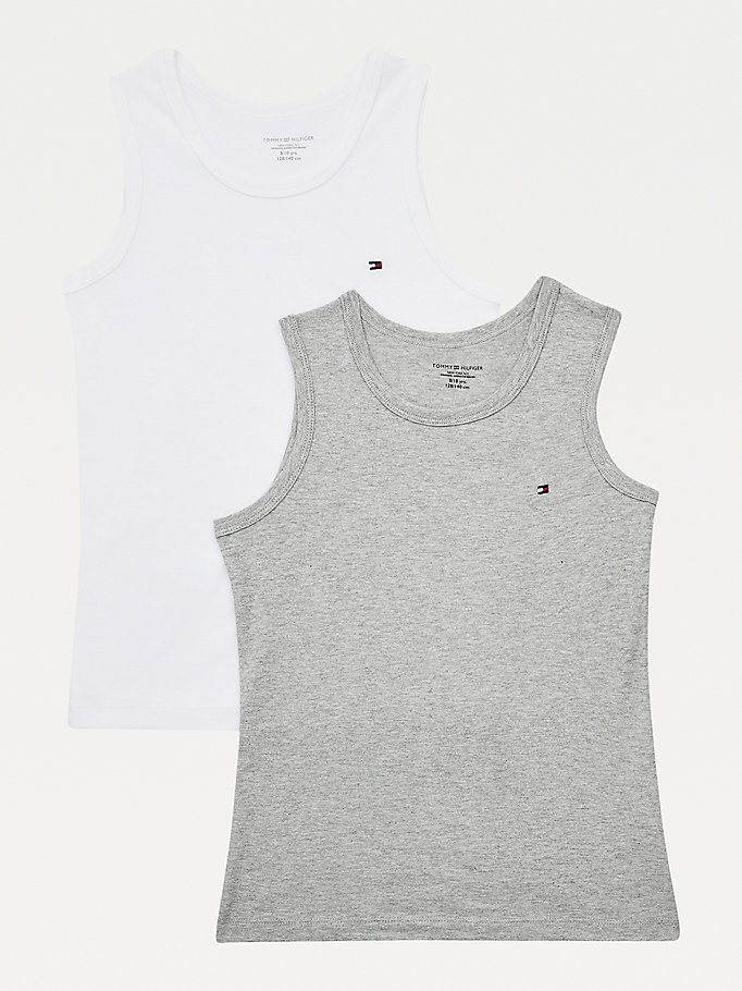 orange 2-pack organic cotton vests for boys tommy hilfiger