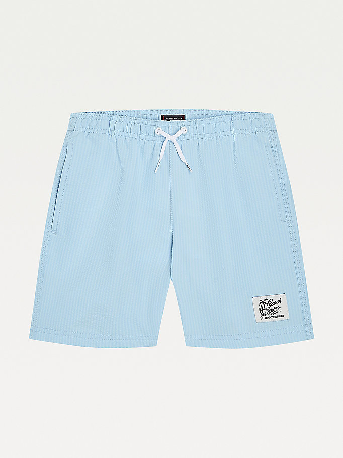 blue seersucker mid length swim shorts for boys tommy hilfiger