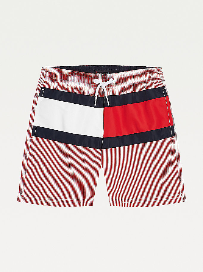 red stripe and flag mid length swim shorts for boys tommy hilfiger