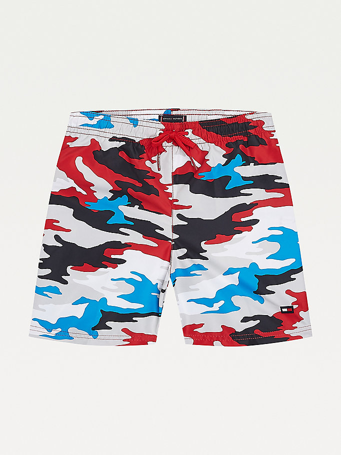 red camouflage print mid length swim shorts for boys tommy hilfiger