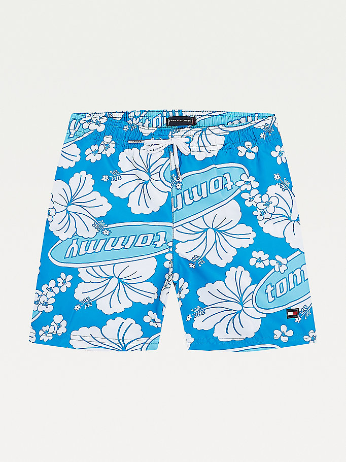 blue floral print mid length swim shorts for boys tommy hilfiger