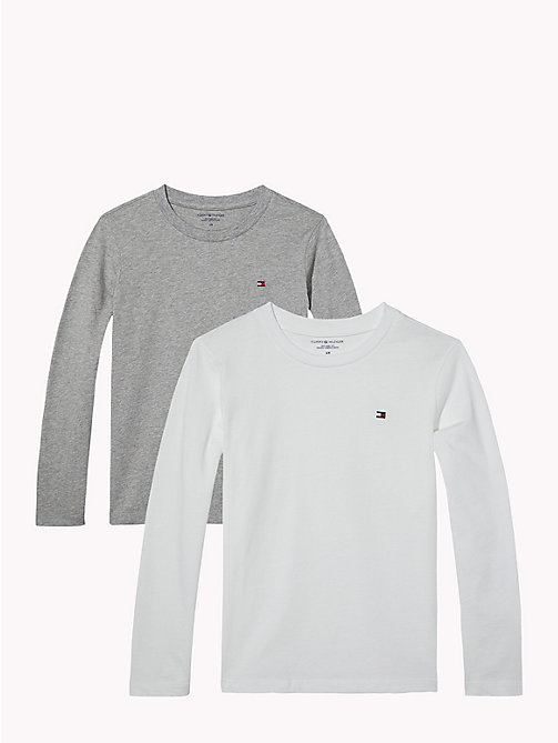 TOMMY HILFIGER 2 Pack Long-Sleeved T-Shirts - WHITE/GREY HEATHER - TOMMY HILFIGER Underwear & Sleepwear - main image