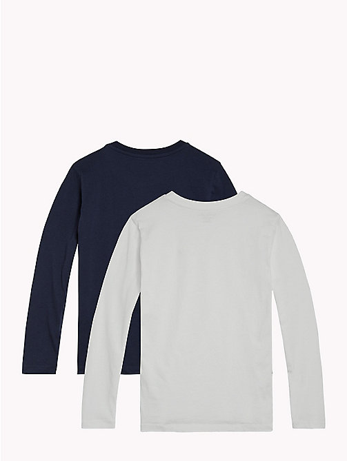 TOMMY HILFIGER 2 Pack Long-Sleeved T-Shirts - WHITE / NAVY BLAZER - TOMMY HILFIGER Underwear & Sleepwear - detail image 1