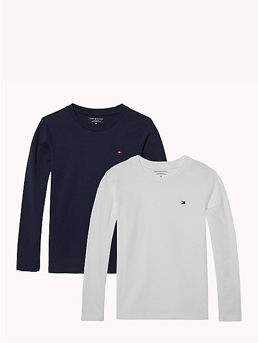 TOMMY HILFIGER 2 Pack Long-Sleeved T-Shirts - WHITE/NAVY BLAZER - TOMMY HILFIGER Underwear & Socks - main image