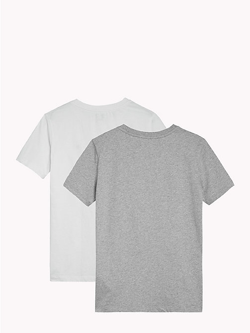 TOMMY HILFIGER 2 Pack Relaxed Crew T-Shirts - WHITE/GREY HEATHER - TOMMY HILFIGER Underwear & Socks - detail image 1
