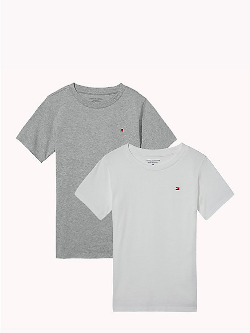 TOMMY HILFIGER 2 Pack Relaxed Crew T-Shirts - WHITE/GREY HEATHER - TOMMY HILFIGER Underwear & Socks - main image
