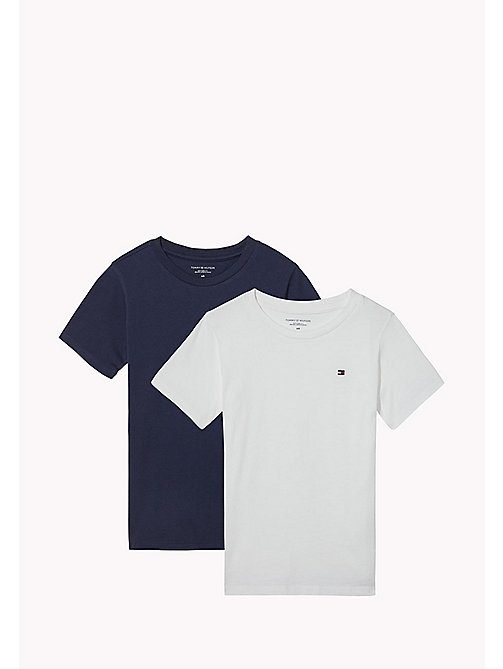 TOMMY HILFIGER 2 Pack Relaxed Crew T-Shirts - WHITE/NAVY BLAZER - TOMMY HILFIGER Underwear & Socks - main image
