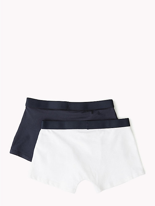 TOMMY HILFIGER 2 Pack Logo Trunks - WHITE/NAVY BLAZER - TOMMY HILFIGER Underwear & Socks - detail image 1