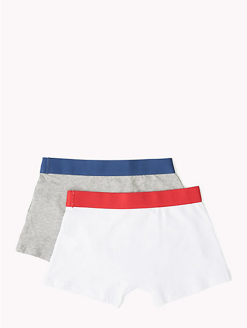 TOMMY HILFIGER 2 Pack Logo Trunks - WHITE/GREY HEATHER - TOMMY HILFIGER Underwear & Sleepwear - detail image 1