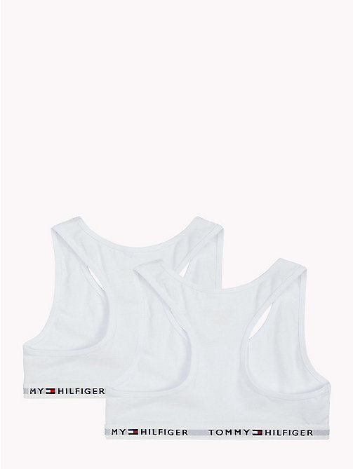 TOMMY HILFIGER 2 Pack Cotton Racer Bralette - WHITE/WHITE - TOMMY HILFIGER Girls - detail image 1