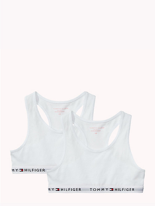 TOMMY HILFIGER 2 Pack Cotton Racer Bralette - WHITE/WHITE - TOMMY HILFIGER Girls - main image