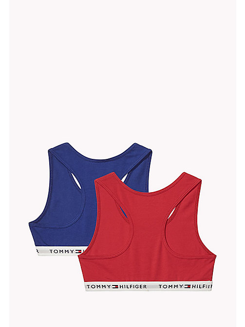 TOMMY HILFIGER 2 Pack Cotton Racer Bralette - CRIMSON/BLUE DEPTHS - TOMMY HILFIGER Girls - detail image 1
