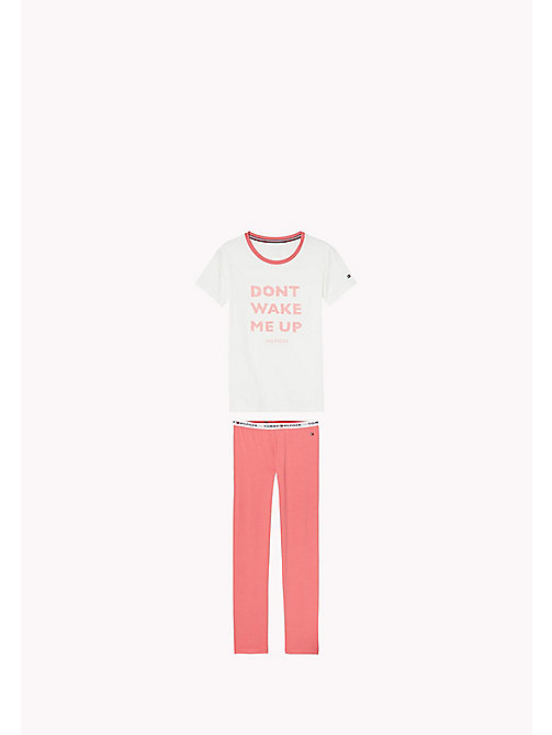 TOMMY HILFIGER Cotton Pyjama Set - RAPTURE ROSE/WHITE - TOMMY HILFIGER Girls - main image