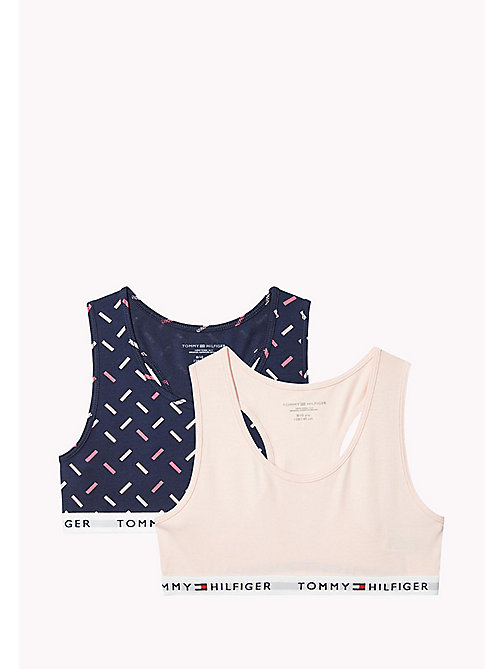 TOMMY HILFIGER Cotton Bralette 2 Pack - NAVY BLAZER/SEASHELL PINK - TOMMY HILFIGER Girls - main image