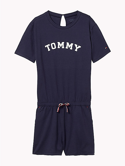 TOMMY HILFIGER Cotton Logo Lounge Playsuit - NAVY BLAZER - TOMMY HILFIGER Swimwear - main image
