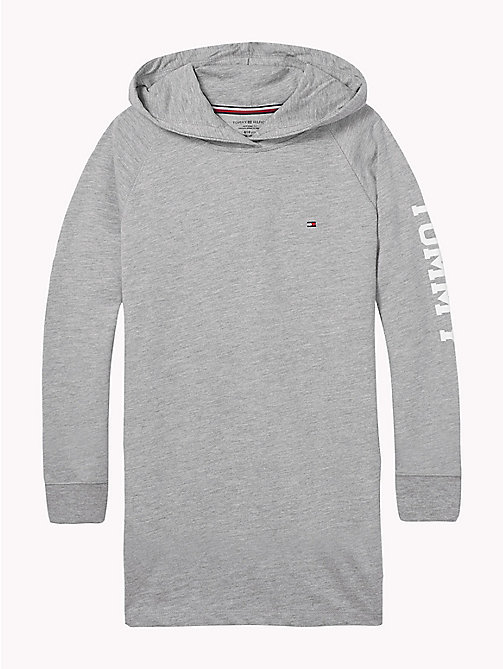 TOMMY HILFIGER Hooded Logo Jumper Dress - GREY HEATHER - TOMMY HILFIGER Ondergoed & Nachtkleding - main image