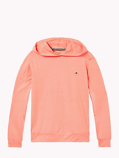 TOMMY HILFIGER Cotton Modal Hoodie - BURNT CORAL - TOMMY HILFIGER Girls - main image