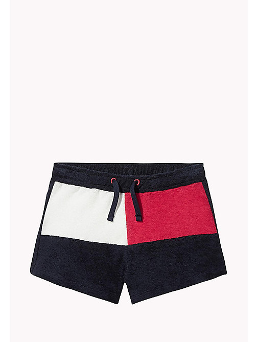 TOMMY HILFIGER Cotton Colour-Blocked Shorts - NAVY BLAZER - TOMMY HILFIGER Girls - main image