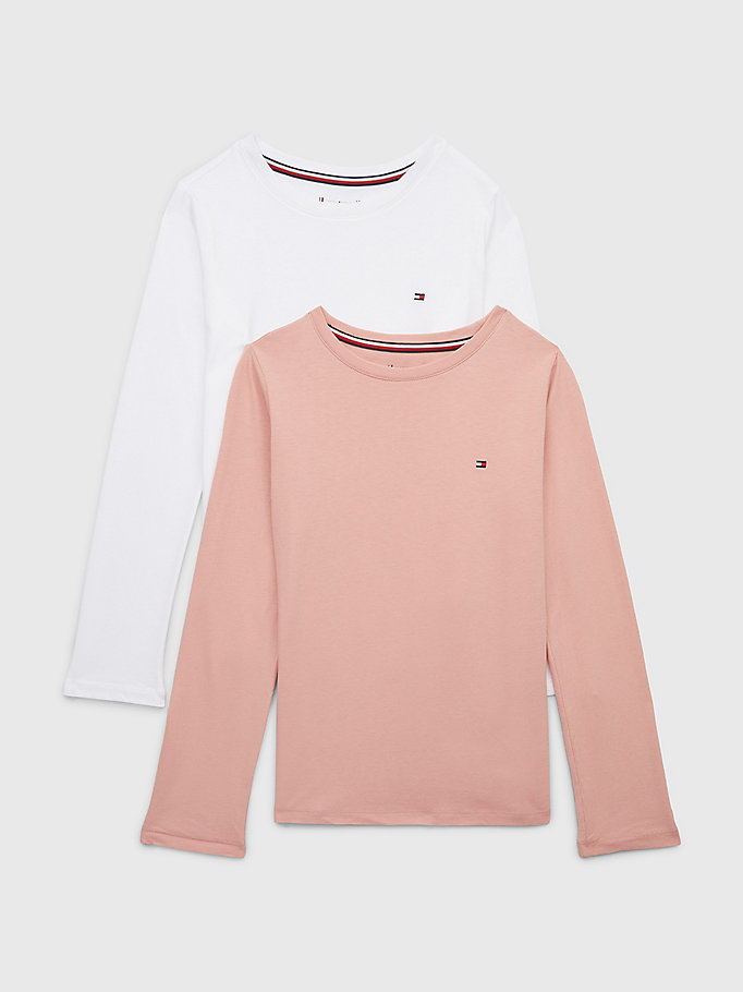 pink 2-pack long sleeve cotton t-shirts for girls tommy hilfiger