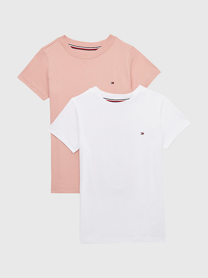 lot de 2 t-shirts col ras-du-cou rose pour girls tommy hilfiger
