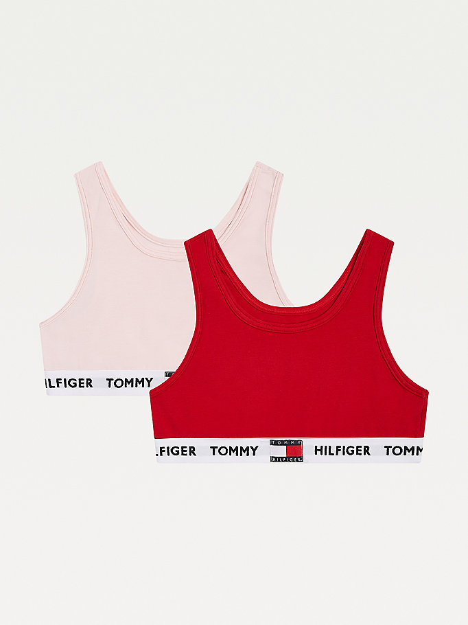 khaki 2-pack organic cotton repeat logo bralettes for girls tommy hilfiger