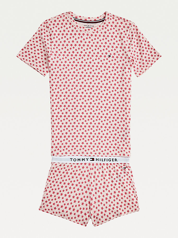 pink all-over print short sleeve pyjama set for girls tommy hilfiger
