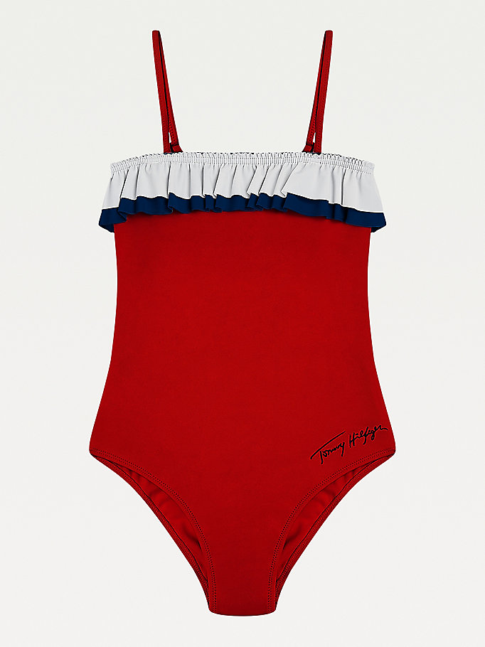 red ruffle swimsuit for girls tommy hilfiger
