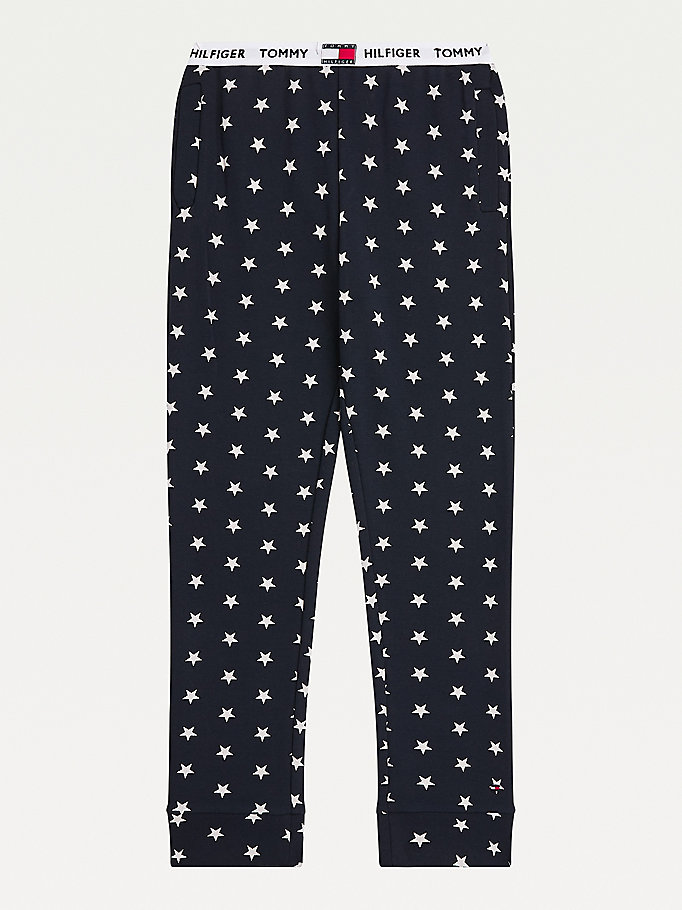 blue organic cotton star print pyjama bottoms for girls tommy hilfiger