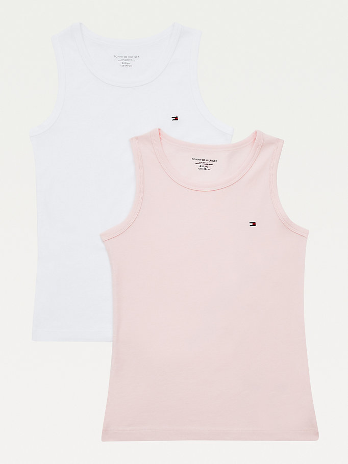 khaki 2-pack organic cotton tank tops for girls tommy hilfiger