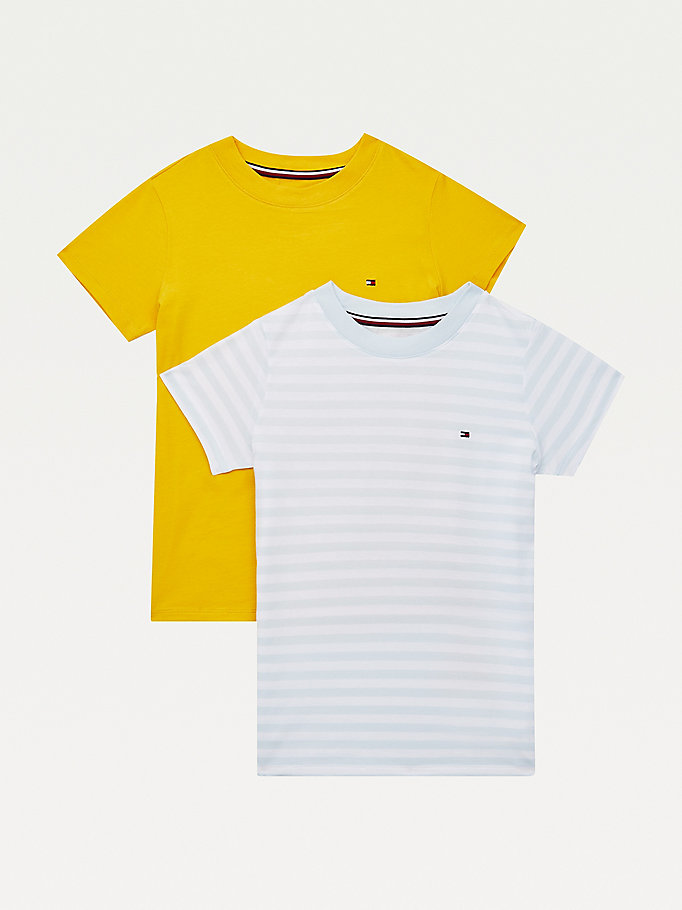 yellow 2-pack organic cotton t-shirts for girls tommy hilfiger