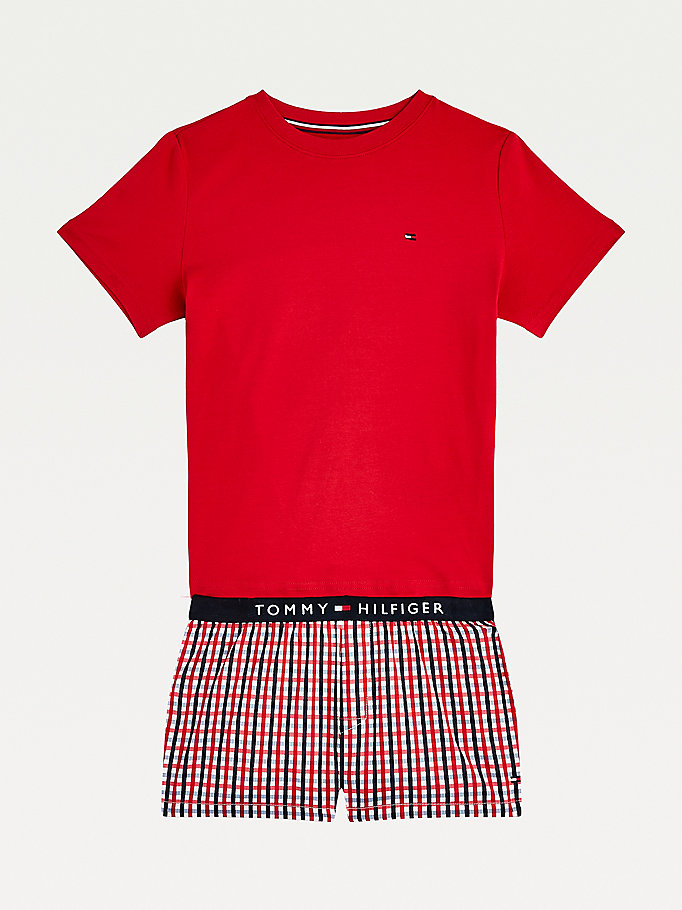 red gingham short pyjama set for girls tommy hilfiger