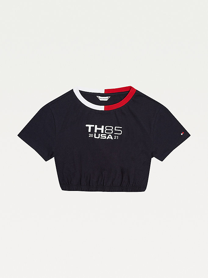 blue 85 logo cropped t-shirt for girls tommy hilfiger