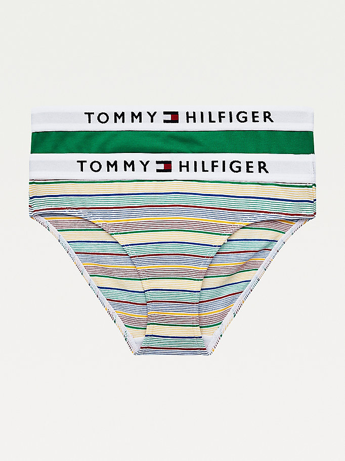 green 2-pack stripe knickers for girls tommy hilfiger