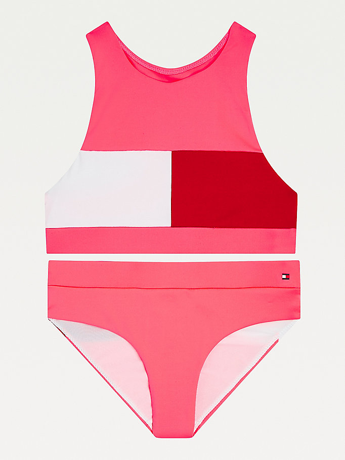 pink crop top flag bikini set for girls tommy hilfiger