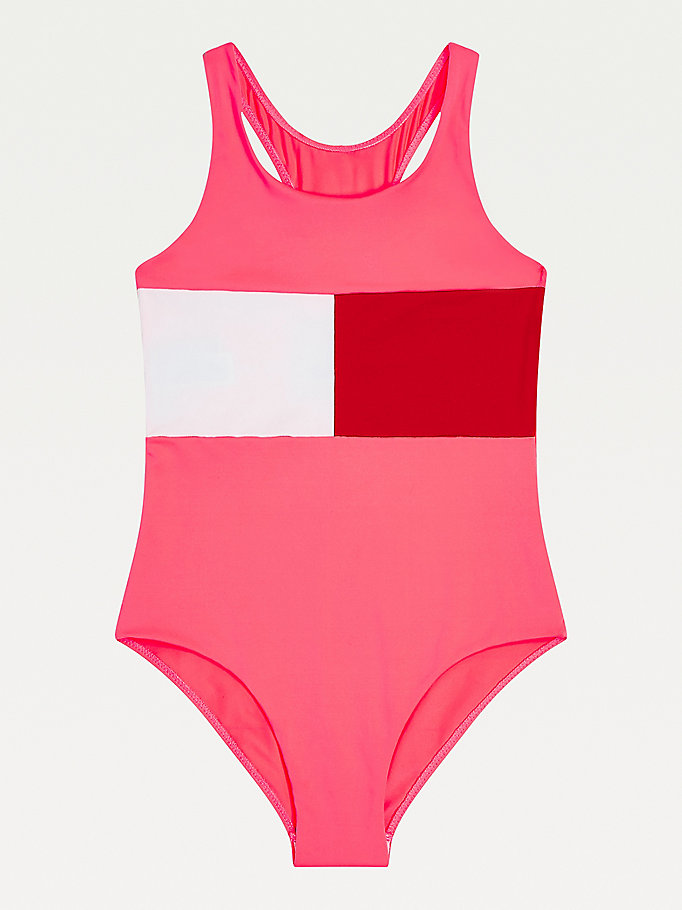 pink stretch recycled polyester one-piece swimsuit for girls tommy hilfiger