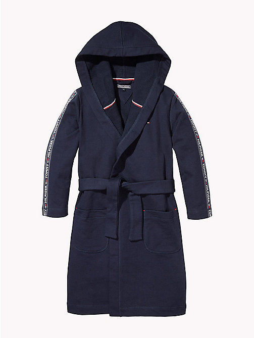 TOMMY HILFIGER Cotton Terry Hooded Dressing Gown - NAVY BLAZER - TOMMY HILFIGER Underwear & Loungewear - main image
