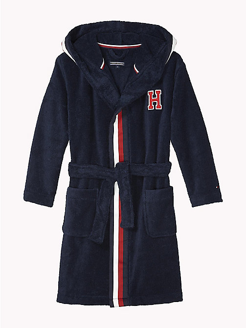 TOMMY HILFIGER Hooded Cotton Bathrobe - NAVY BLAZER - TOMMY HILFIGER Underwear & Socks - main image