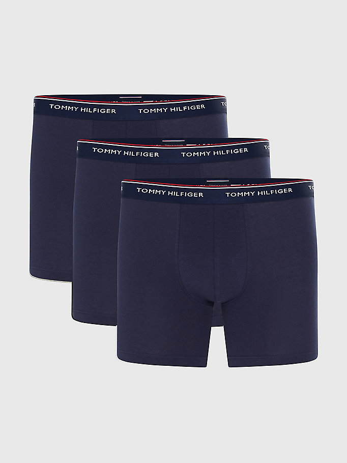 3 pack boxer shorts in cotone stretch blu da men tommy hilfiger