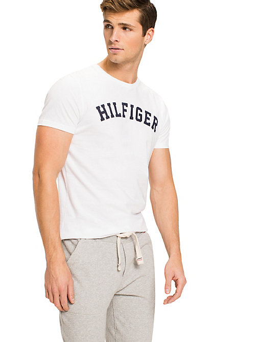 TOMMY HILFIGER Cotton Icon Crew Neck T-shirt - WHITE - TOMMY HILFIGER Pyjama Tops - main image