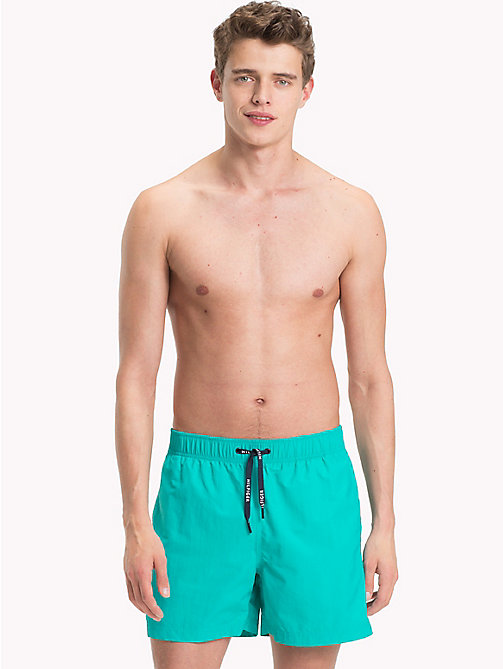TOMMY HILFIGER Branded Drawstring Medium Swim Shorts - CERAMIC GREEN - TOMMY HILFIGER Swimwear - main image