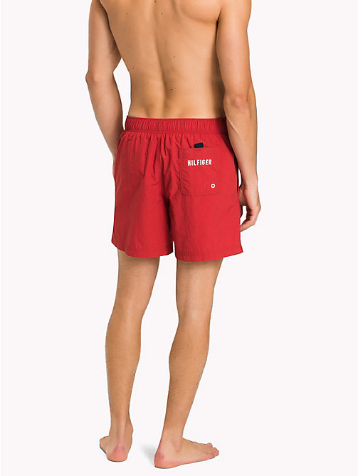 TOMMY HILFIGER Branded Drawstring Medium Swim Shorts - TANGO RED - TOMMY HILFIGER Swimwear - detail image 1