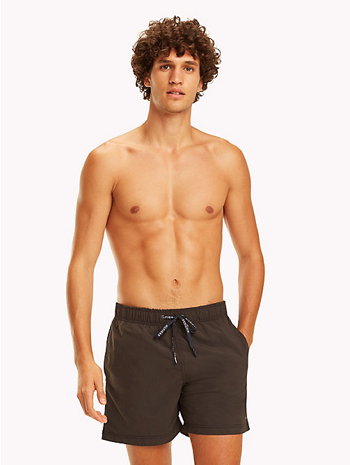 TOMMY HILFIGER Branded Drawstring Medium Swim Shorts - PVH BLACK - TOMMY HILFIGER Swimwear - main image