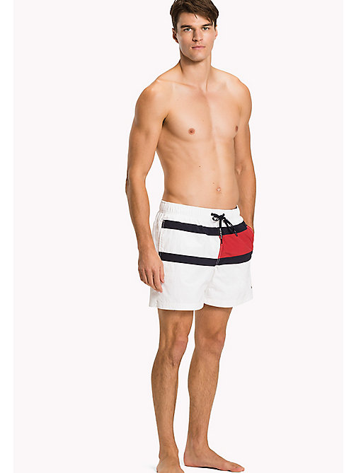 TOMMY HILFIGER Flag Design Swim Shorts - BRIGHT WHITE - TOMMY HILFIGER Swim styles - main image